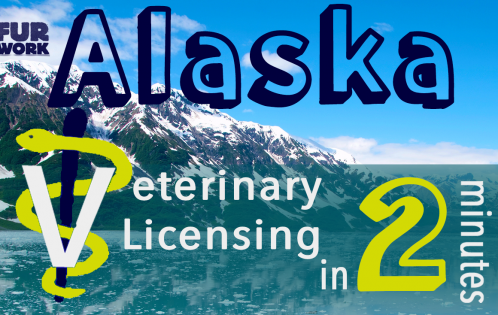 Alaska Veterinary Licensing 2 minutes vet staff symbol, mountain scenery linkedin rectangle