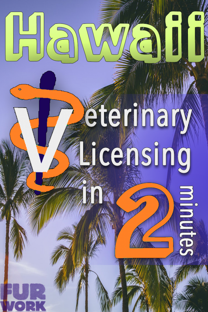 Hawaii Veterinary Licensing 2 minutes vet staff symbol, palm tree scenery pinterest