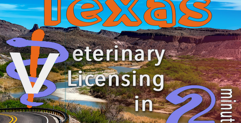 Texas Veterinary Licensing 2 minutes vet staff symbol, highway scene FurWork blog