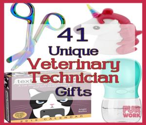 41 Unique Veterinary Technician gifts. Present ideas vet techs, scissors, game, dog water bottle usb square image