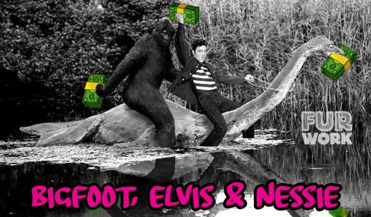 Bigfoot, Elvis & Nessie paying off my veterinary school student loans meme